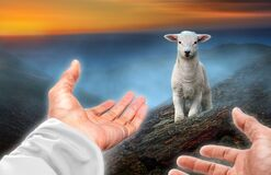 Free Hands Of God Reaching Out To A Lost Sheep Stock Photos - 220176403