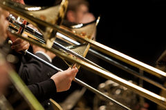 Free Hands Of Man Playing The Trombone Royalty Free Stock Photos - 64653108