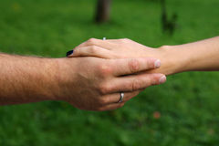 Free Hands Of Married Couple In The Park Stock Image - 48047461