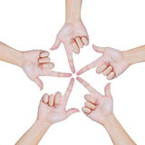 Hands Of Teamwork , Conceptual Style Royalty Free Stock Photos