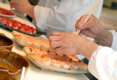 Hands Of The Cook Do Sushi Royalty Free Stock Photo