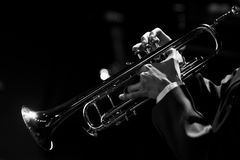 Free Hands Of The Musician Playing A Trumpet Stock Photo - 98055590
