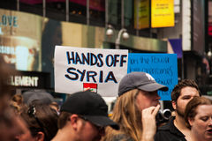 Hands Off. New York City protest of Syrian invasion Stock Photography