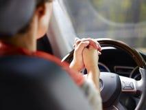 Hands off the steering wheel Stock Photo