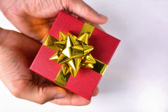 Hands offering a red gift box Royalty Free Stock Photography