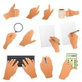 Hands in the office pointing gestures, writing Royalty Free Stock Photo