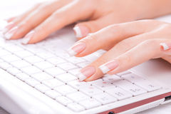 Hands of an office woman typing Stock Photography