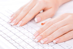 Hands of an office woman typing Stock Images