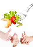 Hands ok with shrimps Stock Images
