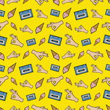 Hands OK Tape and Ice Cream Seamless Pattern. Fashion Background in Retro Comic Style. Vector illustration Stock Photo
