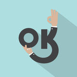 Hands With OK Typography Design vector illustration