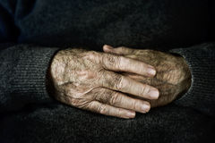 Hands of an old caucasian man Royalty Free Stock Photo