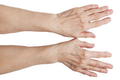The hands of an old man. On a white background Royalty Free Stock Images