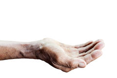 Hands of old man asia . with clipping path Royalty Free Stock Photo