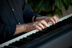 Hands of old man on the piano. Hands of an old man on the piano, with black shirt and plants on the background Royalty Free Stock Images