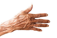 Hands of an old man. On white background Royalty Free Stock Photography
