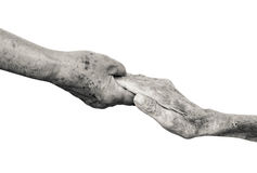 Hands of old people. Elderly people holding hands together isolated Royalty Free Stock Photography