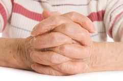 Hands of the old woman Stock Photography