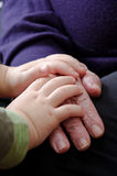 Hands of the old woman. And child Royalty Free Stock Photography