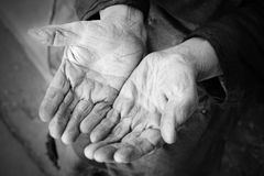 Hands of the old woman. 85 years age. 70 years works in collective farm. Russia Royalty Free Stock Images