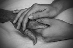 Hands of the old woman. Black and White. Stock Images