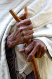 Hands of old woman, Ethiopia. Hands with stick of old woman, Lake Tana, Ethiopa Royalty Free Stock Photography