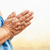 Hands of the old woman. Focus on hands Royalty Free Stock Images
