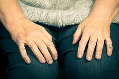 Hands of an old woman lying on her lap.  Stock Image