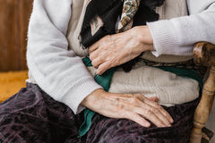 Hands of an old woman. Outdoors, close up Royalty Free Stock Image