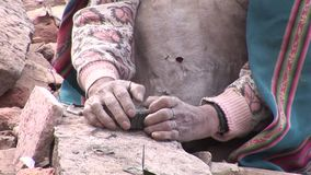 Hands, old woman stock footage