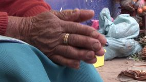 Hands, old woman stock video