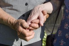 Hands of old womans Stock Photo
