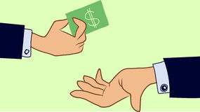 Hands one hand giving money, other hand recieve Royalty Free Stock Photos