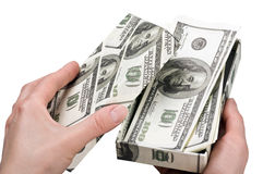 Hands open a box with money Stock Images