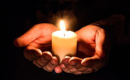 Hands, Open, Candle, Candlelight