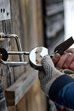 Hands open padlock royalty free stock images