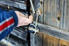 Hands open padlock royalty free stock photo