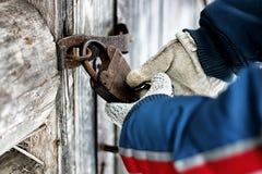 Hands open padlock stock images