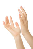 Hands open in prayer Stock Photo