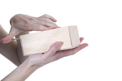Hands opening box Royalty Free Stock Image