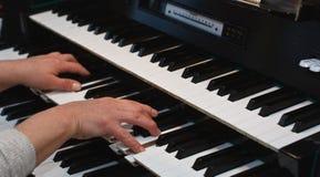 Hands on an organ keyboard Royalty Free Stock Photo