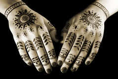Hands with oriental tattoo Royalty Free Stock Photo