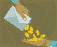 Free Hands Out Coins In An Envelope Royalty Free Stock Image - 64659526