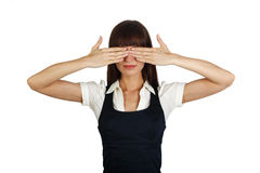 Hands over eyes. Young businesswoman covering her eyes with hands royalty free stock images