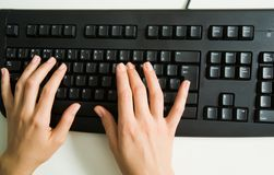 Hands over keyboard Royalty Free Stock Images
