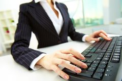 Hands over keyboard Royalty Free Stock Image
