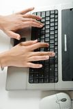 Hands over keyboard Stock Photography