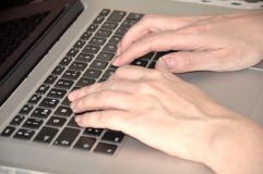 Hands over a keyboard Royalty Free Stock Image