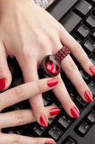 Hands over keybord. Beuautifull hand over black keyboard Stock Images