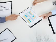 Hands over meeting business table Royalty Free Stock Images